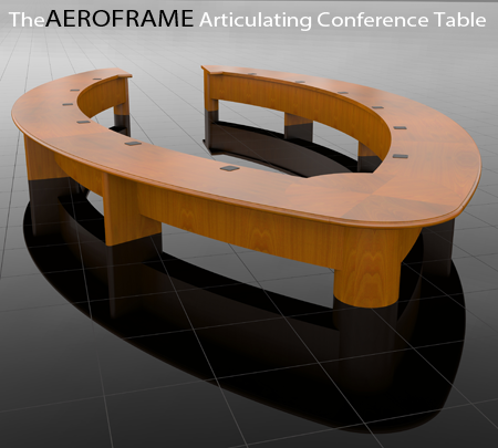 The AEROFRAME Articulating conference table, a patented design in production  by Wilcox Woodworks, Inc.
